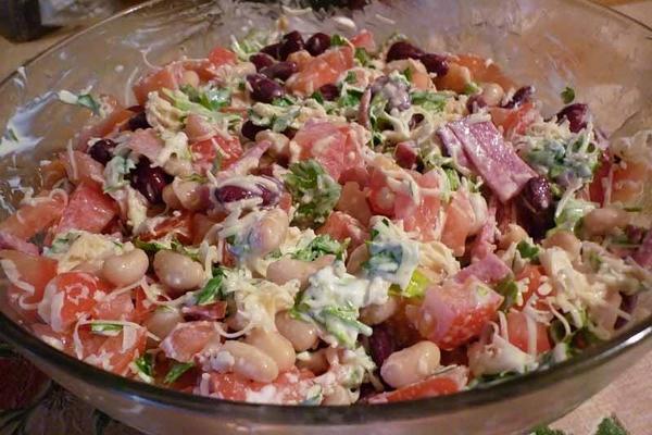 Рецепт салат обжорка с фасолью