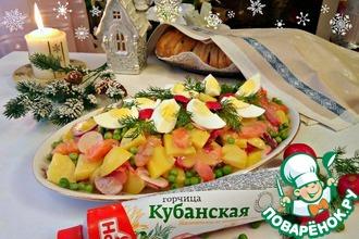 Салат с лососем копченым