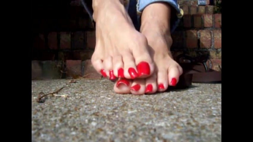 Long red toenails
