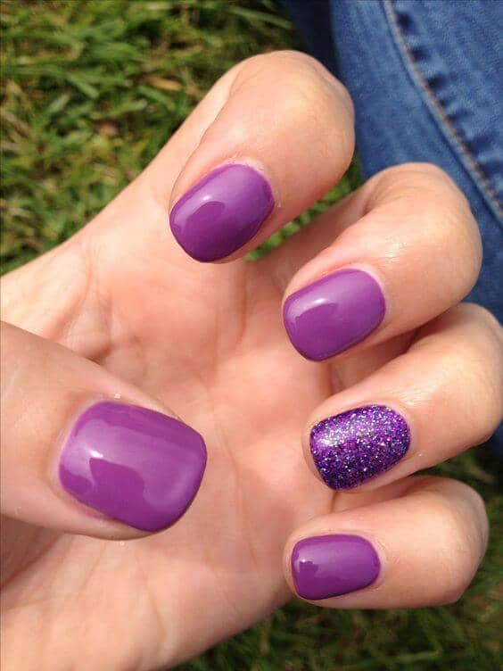 Purple Short Nails with Glitter Accent