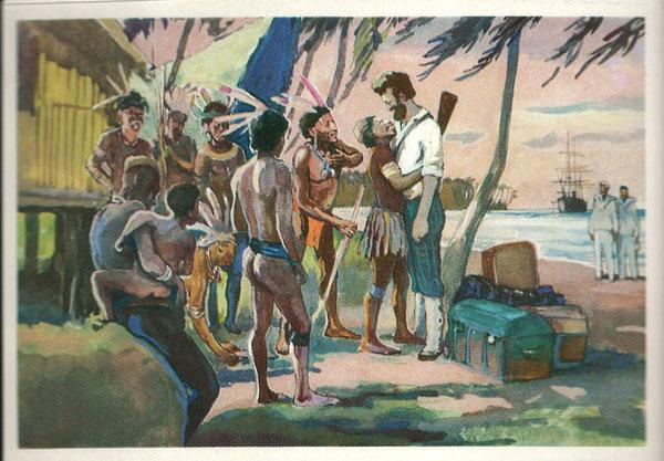 Открытка из комплекта «Русские путешественники и мореплаватели». Н.Н.Миклухо-Маклай