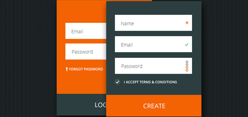 Flat Login and Register Form