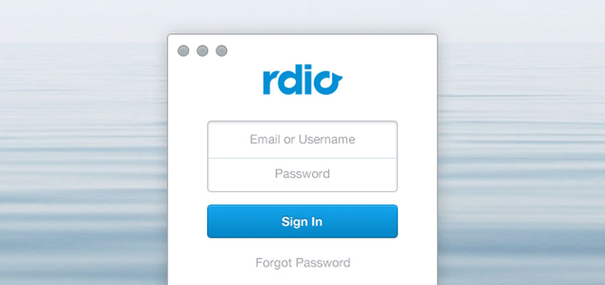 Rdio Sign In (Freebie)