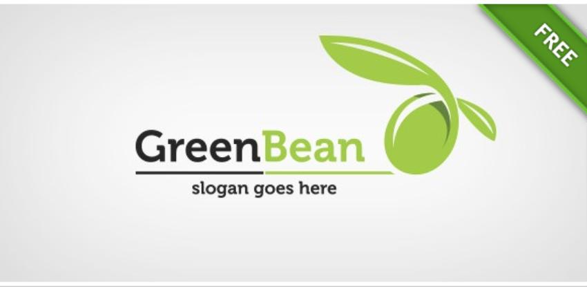 26-Green Bean Free Vector Logo Template