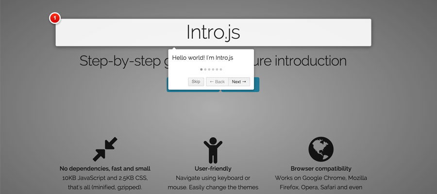 Intro.js – JS plugin for step-by-step- guides