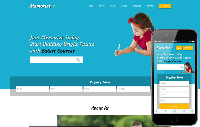 Memorize an Educational Category Bootstrap Responsive Web Template