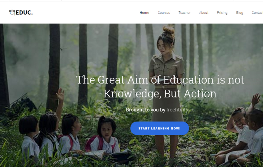 Education: Free HTML5 Bootstrap Template eLearning School Websites