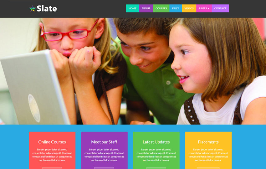 Slate Educational School free Bootstrap Template