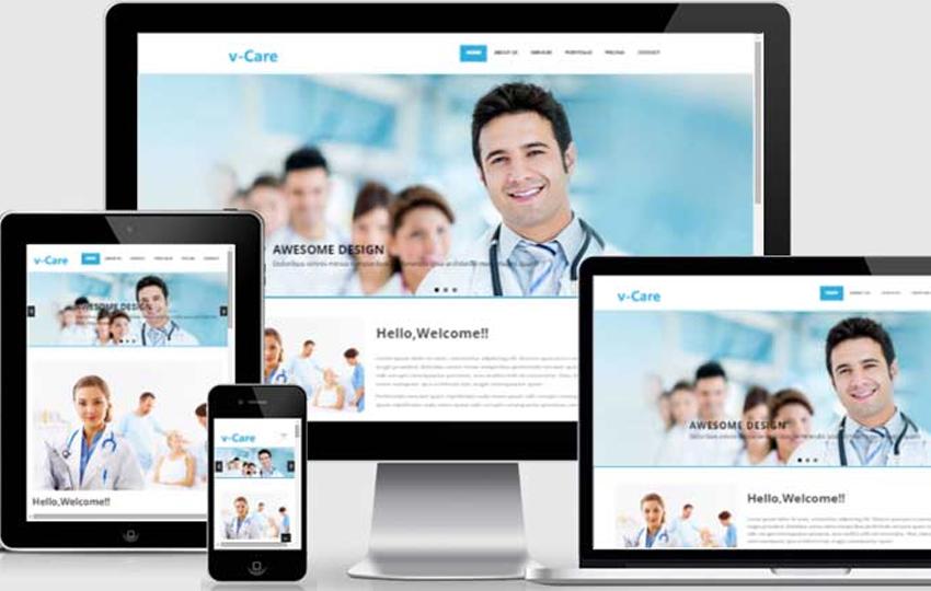vCare free hospital website Template