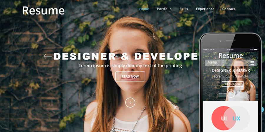 Resumer a SinglePage Flat Responsive web template
