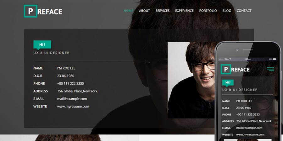 Preface - Free Responsive Personal Portfolio Website Template