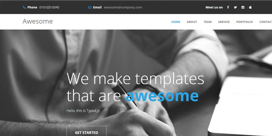 Awesome – Free Responsive Personal Portfolio Website Template