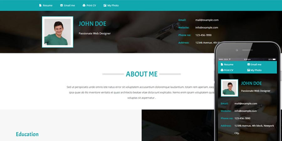 Resume a Personal Category Website Template