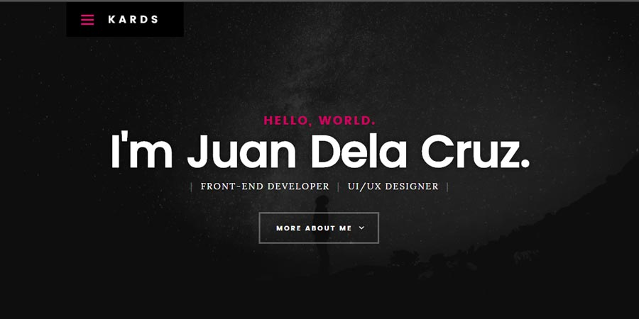 Kards - Free Responsive Personal Portfolio Website Template