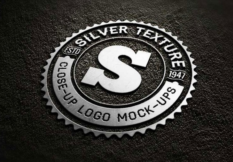 Silver Close Up Free Logo MockUp