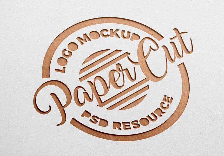 Paper Sheet Cutout Effect Logo Mockup