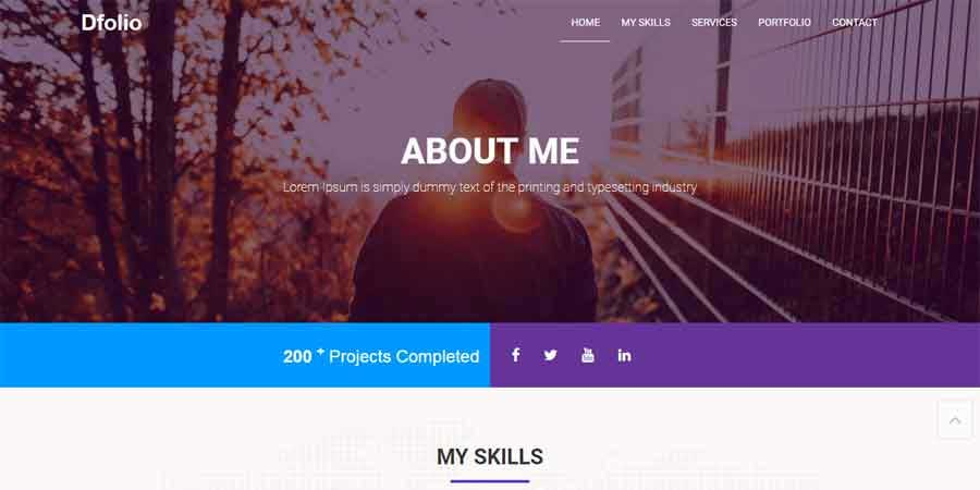 Dflow Portfolio One Page Template Free Download