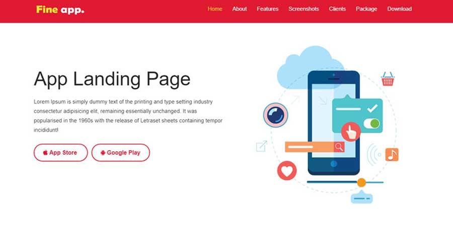 Fine Best App Landing Page Free Web Template