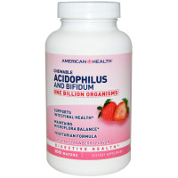 American Health, Chewable Acidophilus and Bifidum, Natural Strawberry Flavor - 100 Wafers