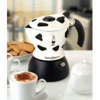 Bialetti, Mukka Express 2-Cup Cow-Print Stovetop Cappuccino Maker, Black and White