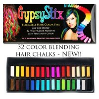 32 Color Hair Chalk Set, Lasts up to 3 Day, Blendable Pastel and Primary Colors, for All H