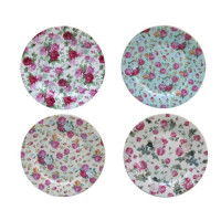 Gracie China, Rose Chintz Porcelain 8-Inch Dessert Plate - 4 Set