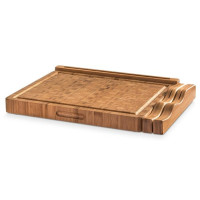 PRSM, 3 Part Bamboo Cutting Board with Knife holder and Device stand