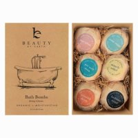 Bath Bombs, Organic & Natural 6 Relaxing Epsom Salt Soak Balls Gift Set in a Fizzy Bomb Pa