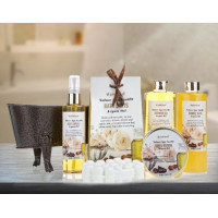 Pinkleaf, Nature Spa Vanilla, Argan Oil, Bath Gift Set, in Antique Brass Looking Tub