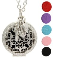 MONE, Oil Diffuser Necklace with Love Hope Faith charms and 5 Oil Pads