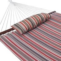 Prime Garden, Quilted Double Fabric Hammock, Hardwood Spreader Bars with Pillow,Outdoor Po