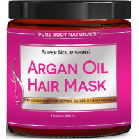 Pure Body Naturals, Deep Conditioner for Damaged & Dry Hair, Argan Oil Hair Mask - 8 oz.