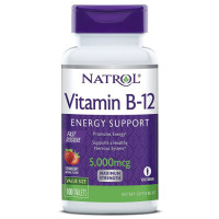 Natrol, Vitamin B-12, Fast Dissolve, Strawberry Flavor, 5000 mcg - 100 Tablets