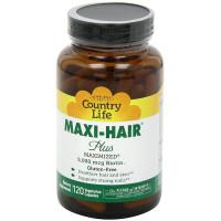 Country Life, Maxi Hair Plus 5,000 mcg Biotin - 120 VegiCaps
