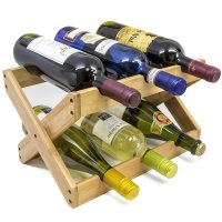 Sorbus, Bamboo Foldable Countertop Wine Rack 6-bottles