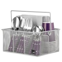 Mindspace, Silverware Caddy, Condiment Dining & Kitchen Organizer - Silver