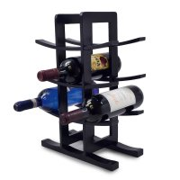 Sorbus, Bamboo Wine Rack – Holds 12 Bottles (Black)