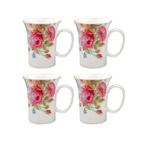 Gracie Bone China, 10-Ounce Trumpet Mug, Pink Sandra's Rose - Set of 4
