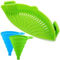 FineGood, Silicone Snap Strainer with 2 Collapsible Funnels for Pasta Vegetable Noodles -