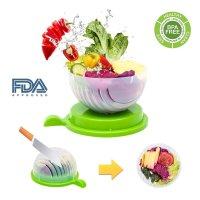 Exeblue, Salad Maker Vegetable Fruit Bowl Cutter & Strainer (Green)