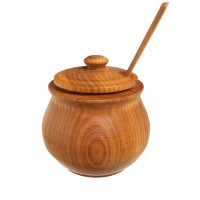 MFC, Handmade Cherry Wood Sugar Jar Spice Bowl & Spoon