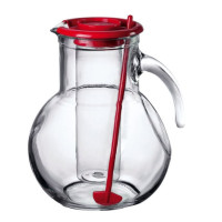 Bormioli Rocco, Kufra Glass Pitcher with Ice Container and Red Lid