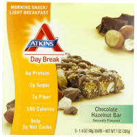 Atkins, Day Break, Morning Snack, Light Breakfast Chocolate Hazelnut Bar, 5 Bars - 1.4 oz