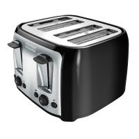 BLACK+DECKER, 4-Slice Toaster, Classic Oval, Black with Stainless Steel Accents