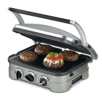 Cuisinart, 5-in-1 Griddler, Silver, Black Dials