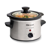 Elite Gourmet, Stainless Steel 1.5 Quart Slow Cooker - Silver