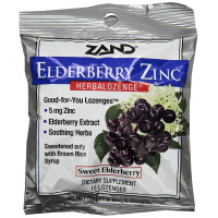 Zand, Elderberry Zinc, Herbalozenge, Sweet Elderberry - 15 Lozenges