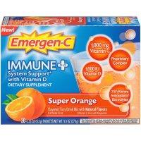 Emergen-C, Immune+, Vitamin D Fizzy Drink Mix, Super Orange Flavor, 30 Count - 9.9 oz (279