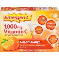 Emergen-C, Vitamin C, Flavored Fizzy Drink Mix, 1,000 mg, Raspberry, 30 Packets - 0.32 oz