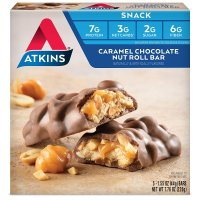 Atkins, Advantage, Caramel Chocolate Nut Roll, 5 Bars - 1.6 oz (44 g) each